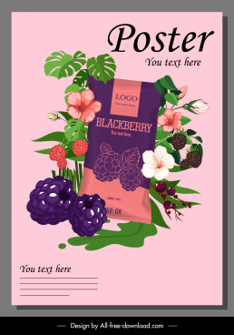 product advertising poster elegant blackberry fruits flowers decor