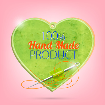 product guarantee label with heart and needle design