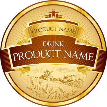 agricultural product label template shiny golden rice field