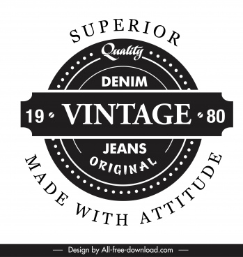 product label template black white retro flat design