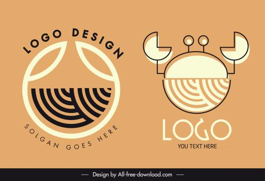 product logo templates abstract crab sketch flat handdrawn