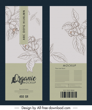 product package template elegant handdrawn botanical decor