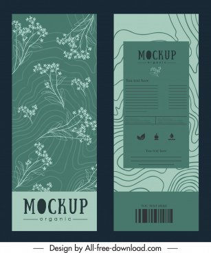 product package template elegant vintage flowers curves decor