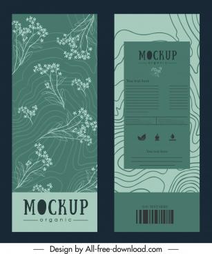 product package template elegant vintage flowers curves decor