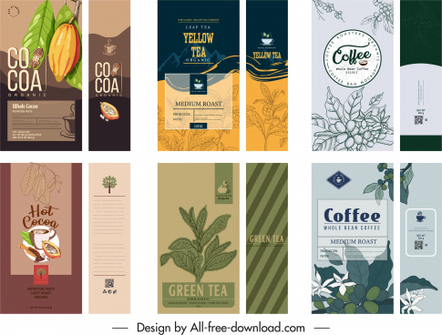 product packaging templates elegant retro handdrawn decor