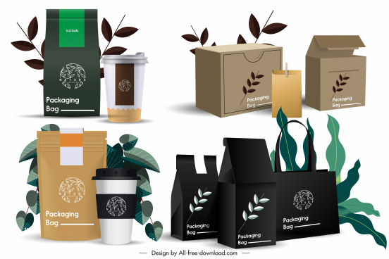 product packing icons luxury modern 3d sketch
