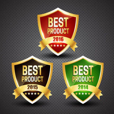 product promotion icons with design of shiny shields