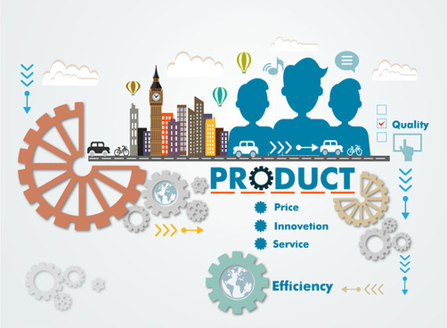 product promotion infographic with cogwheels and cityscape illustration