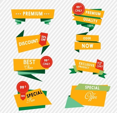 product promotion label design with origami styles