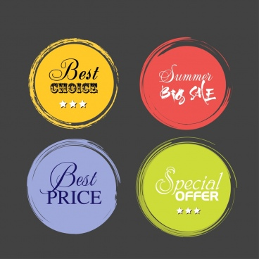 product promotion labels colored round retro style
