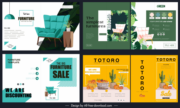 product promotion leaflet templates furniture agriculture products sketch