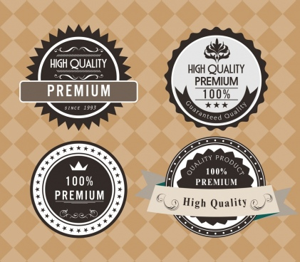 product quality labels collection black circle design