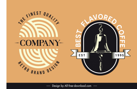 products logotypes fingerprint bells sketch classic flat design