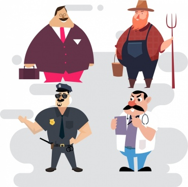 profession icons businessman farmer police doctor characters