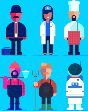 profession icons collection colored cartoon characters design