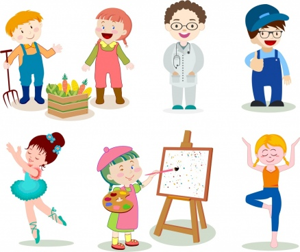 profession icons cute cartoon characters colorful design