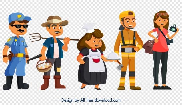 profession icons police farmer waiter journalist woodman symbols