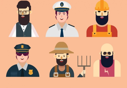 profession symbols collection male icons cartoon characters