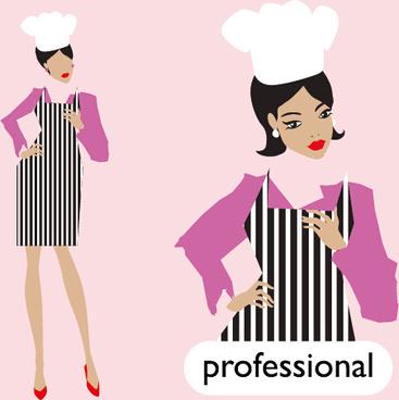 professional female chef vector