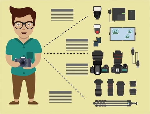 professional photographer concept with tools isolation