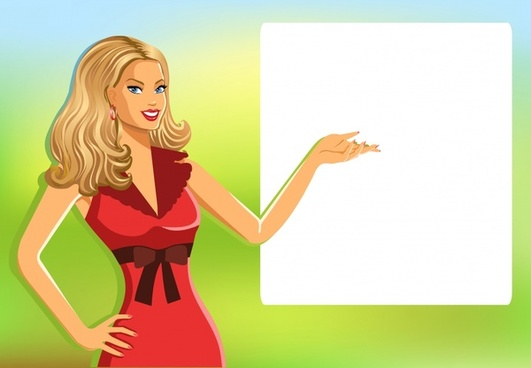 woman background cartoon character blank board decor