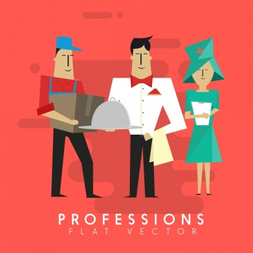 professions banner nurse waiter shipper icons cartoon characters
