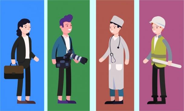 professions design elements staff cameraman nurse engineer icons