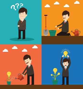 project startup vector illustration with lightbulb and tree