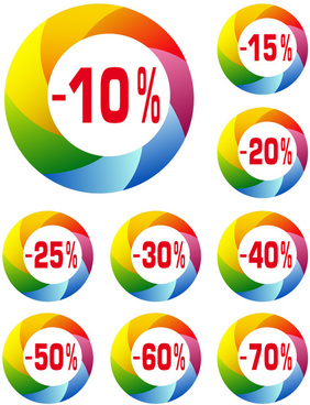promo colored labels design vector