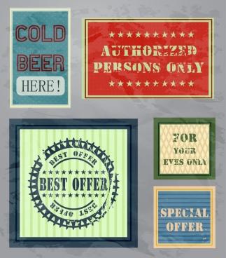 promotion banner templates retro design text stars decor