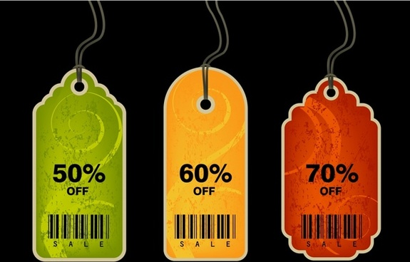 sales tags templates colored flat retro design