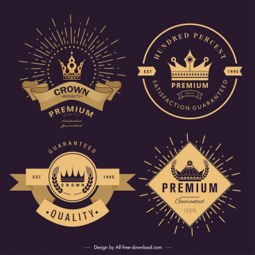 promotional labels templates luxury elegant crown ribbon decor
