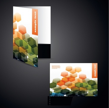 brochure cover template modern hexagonal decor 3d sketch