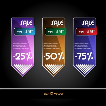 sale tag templates modern colored arrow shapes