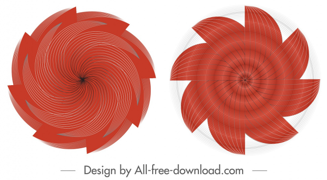 propeller icons red swirled symmetric motion shapes