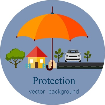 property protection concept background design with protecting umbrella