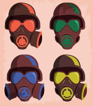 protection masks icon brown design various shapes isolation