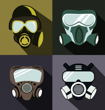 protective masks icons dark contemporary design