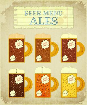 pub beer menu retro style vector