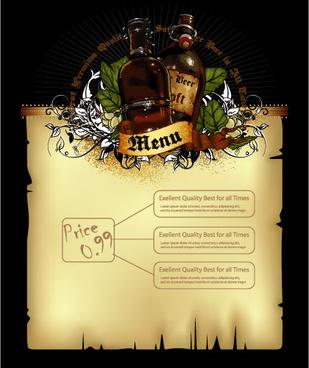pub beer menu vintage styles vector