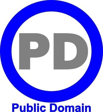 Public Domain Icon Blue clip art