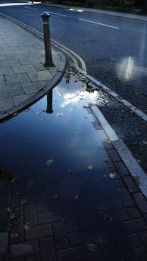 puddle rain road