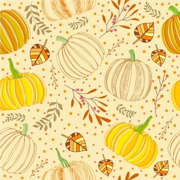 pumpkin background multicolored handdrawn repeating sketch