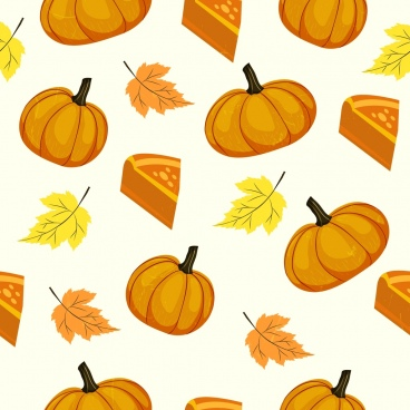 pumpkin background yellow icons 3d slice leaf decor