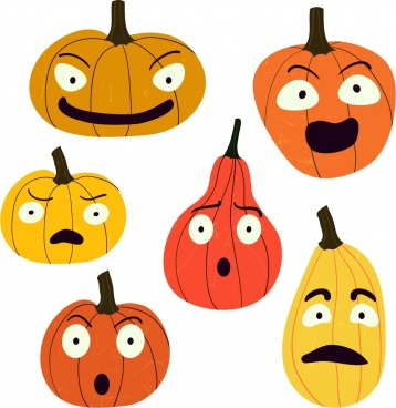 pumpkin icon stylized design various emotion isolation