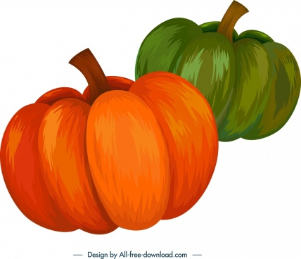 pumpkin icons colored 3d handdrawn design