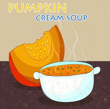 pumpkin soup advertising colored handdrawn design bowl icon
