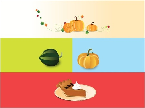 pumpkins and cream cakes vector illustration