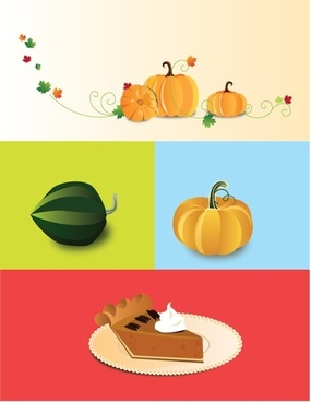 cream pie icon vector pumpkins isolation decoration