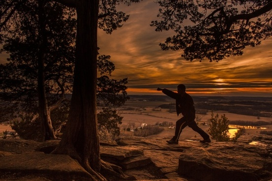 punching stance at dusk at gibraltar rock wisconsin free stock photo
